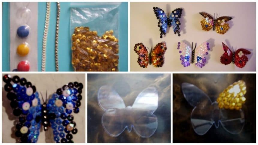 How to make butterfly from plastic bottles and sequins