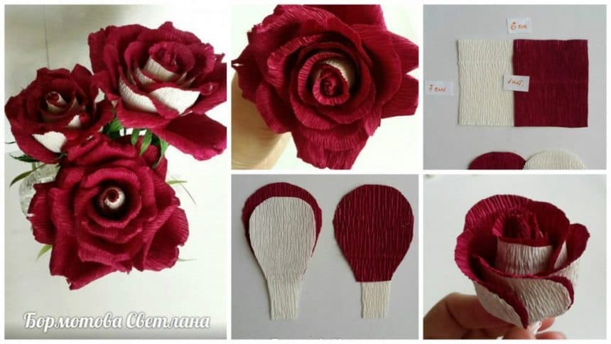 Rose from corrugated paper for candy bouquets