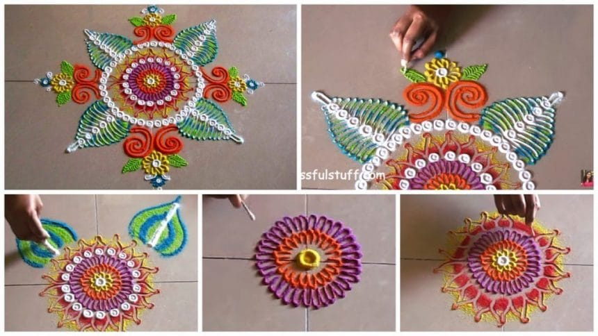 Beautiful and easy free hand rangoli
