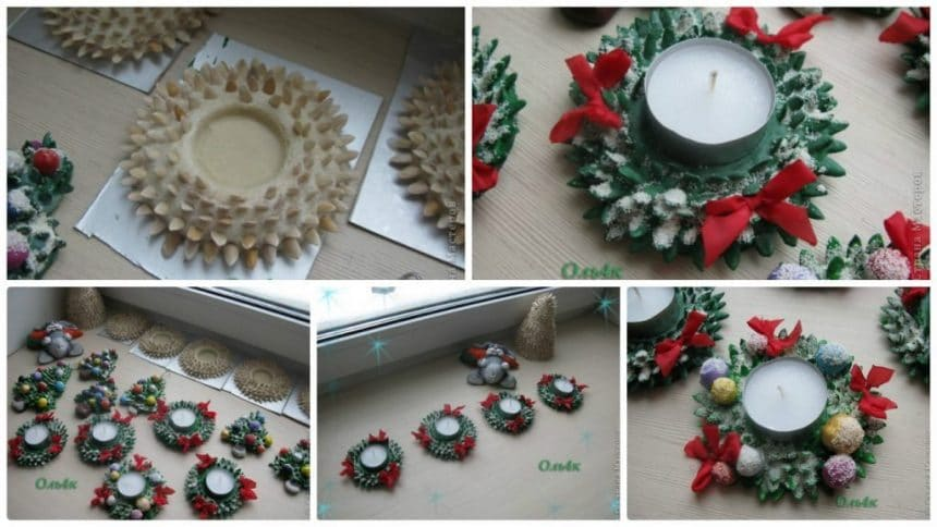Christmas candle decoration from sunflower seeds