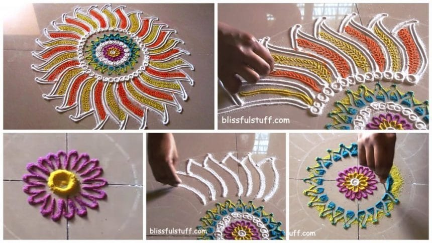 Beautiful flower shaped rangoli design