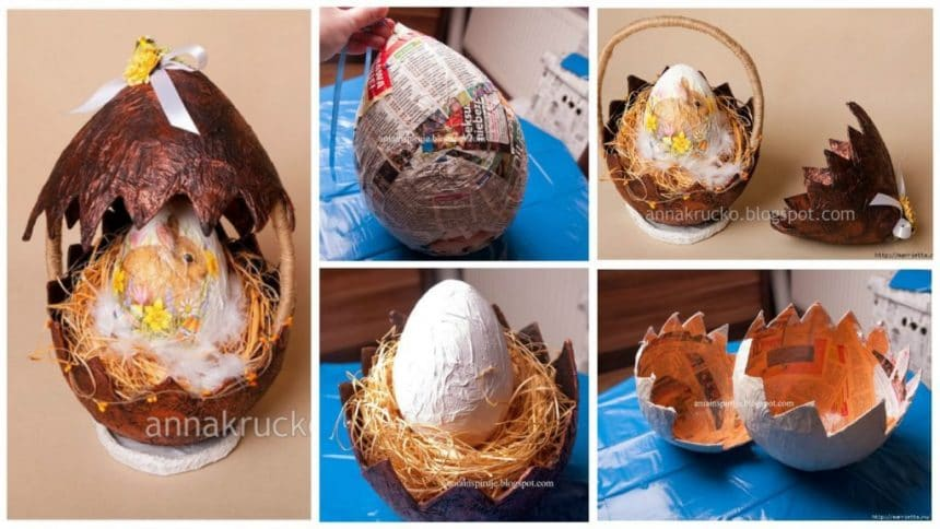 Shells for Easter eggs made of papier mache