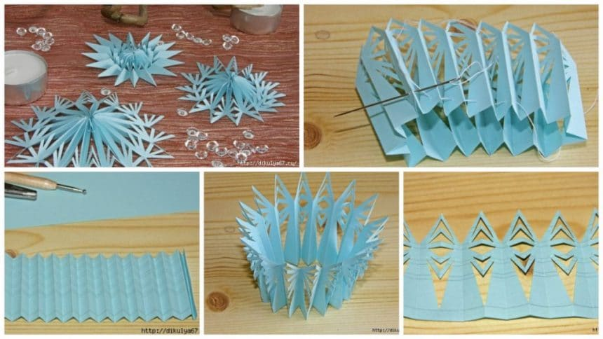 How to make paper 3 D snowflake