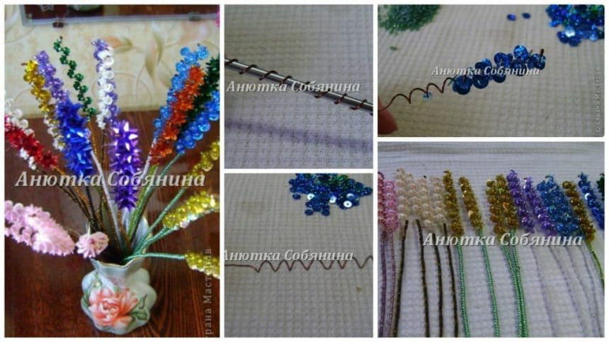 How to make flowers from beads and sparkles