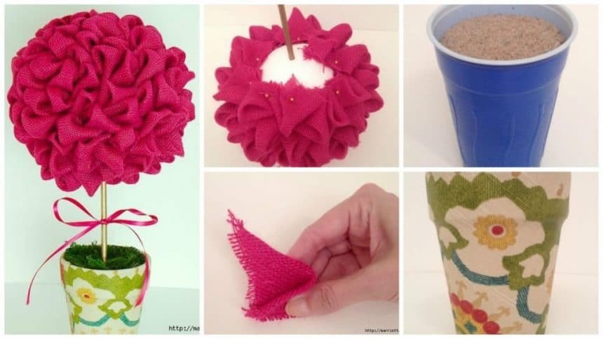 How to make topiary of colored burlap