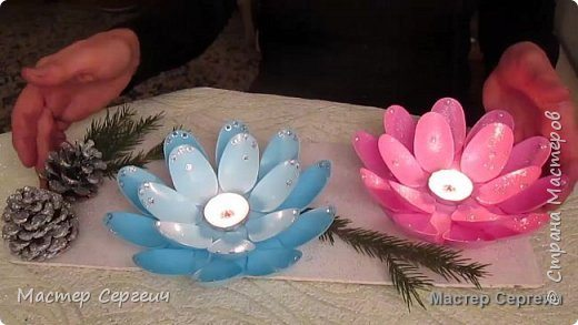 Christmas Candle Holder From Plastic Spoons Simple Craft Ideas