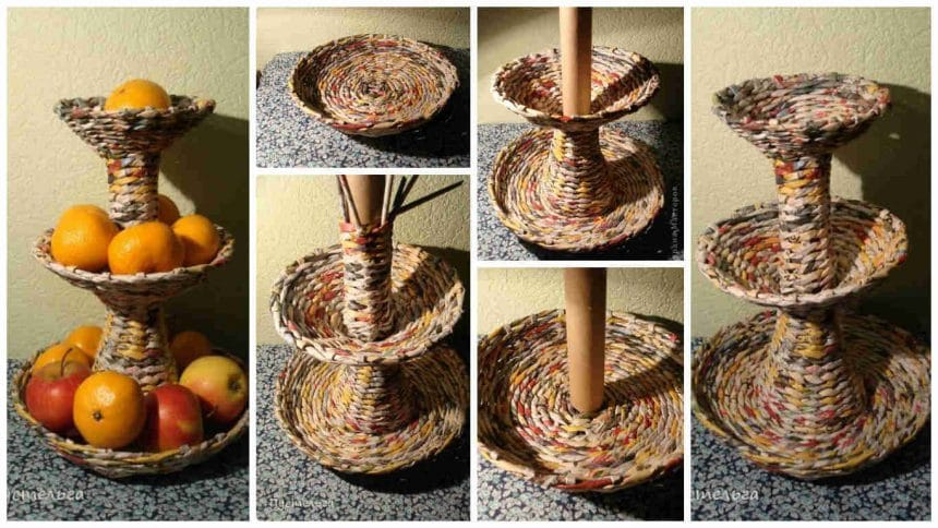How to make fruits stand from newspaper tube
