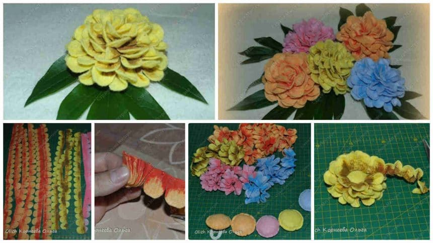 How to make dahlias from rags for cleaning