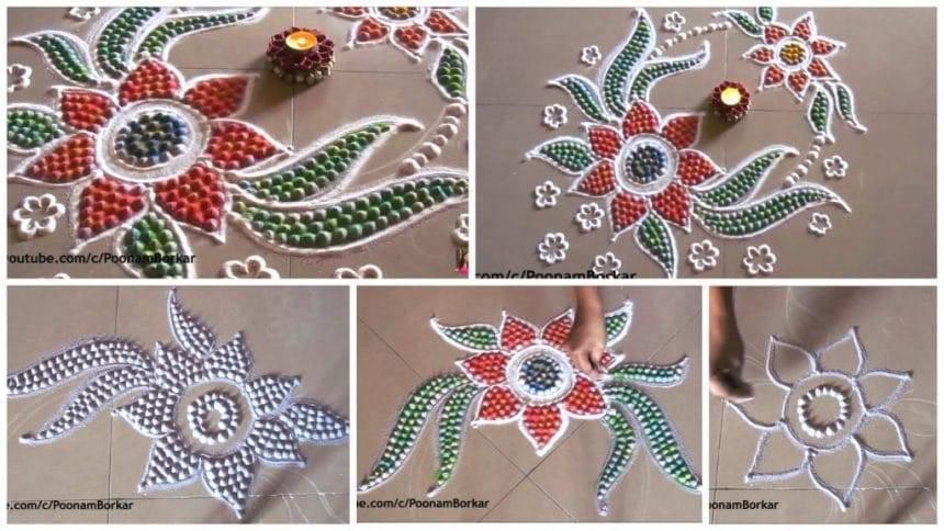 Dots rangoli-Recycling the used rangoli powder