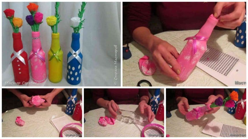 How to decorate bottles from balloons