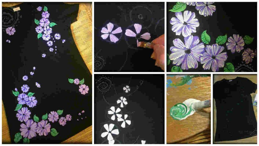How to make a colorful painting with acrylic paints on a dark t-shirt