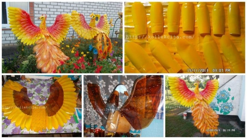 How to make firebird from plastic bottles