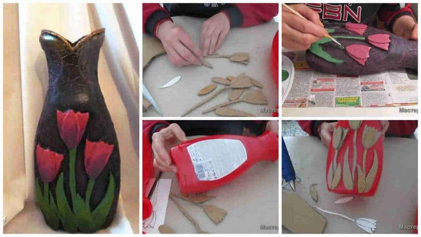 How To Make Vase From Waste Material Simple Craft Ideas