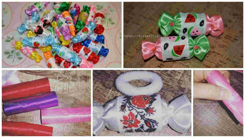 How to make sweets of satin ribbons for hair