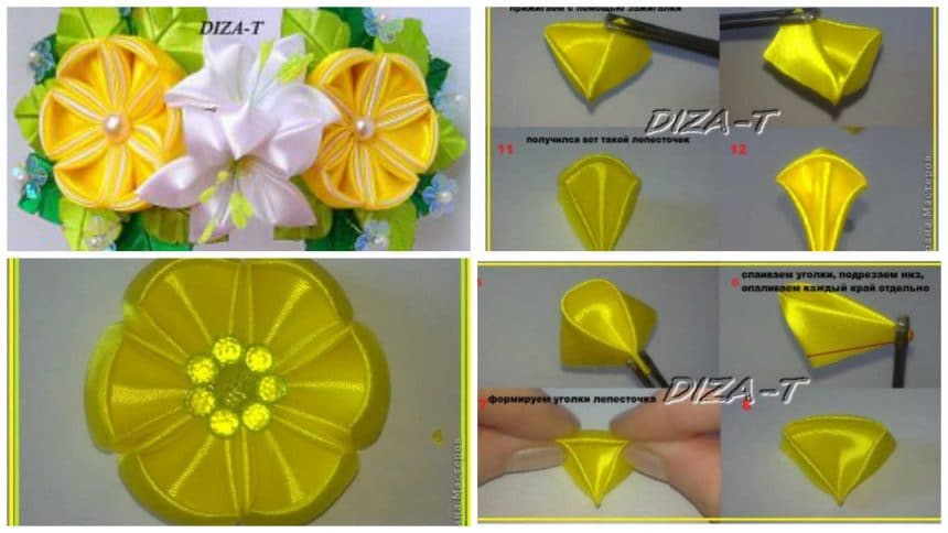 How to make round kanzashi lemon petal flower