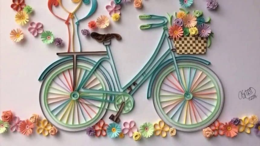How To Make Quilling Bicycle With Flowers Simple Craft Ideas