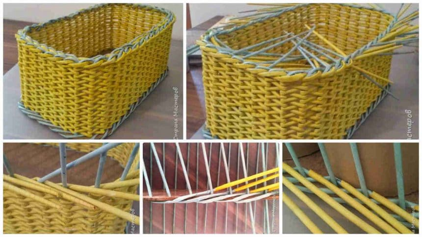 How to make basket from Japanese layering weaving