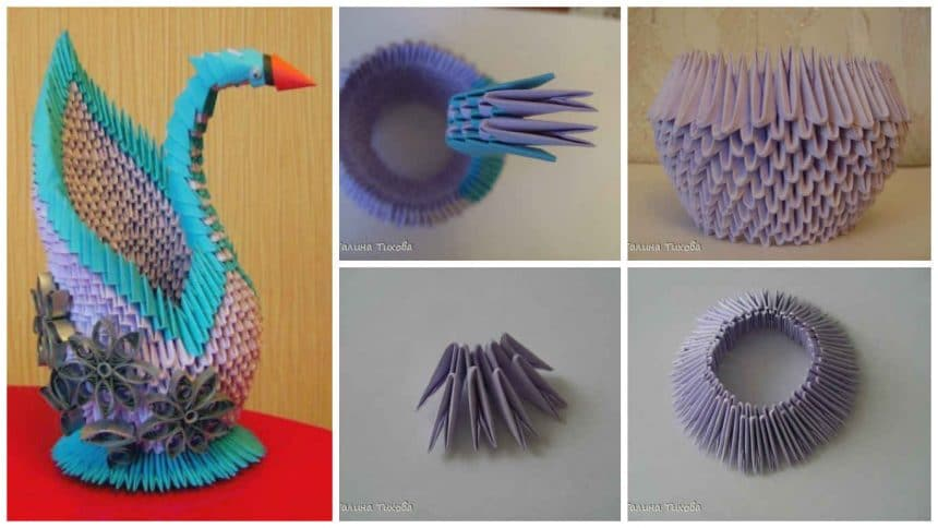 "How to make origami ""Lilac Swan"""