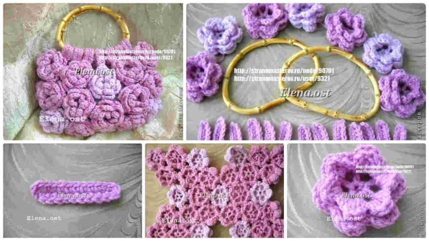"""How to make """"Pink Rose"""" knitted Bag"""