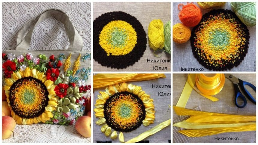 bright sunflower from french knots