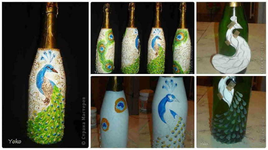 How to make decorative peacock bottle