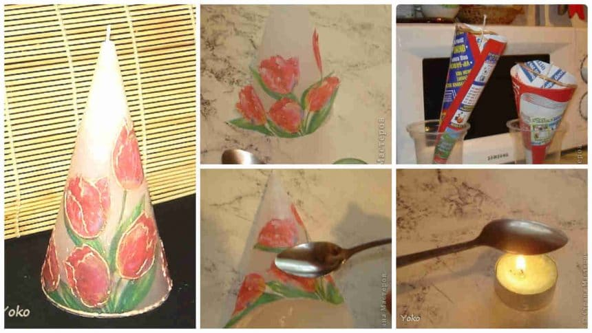How to make decoupage candle