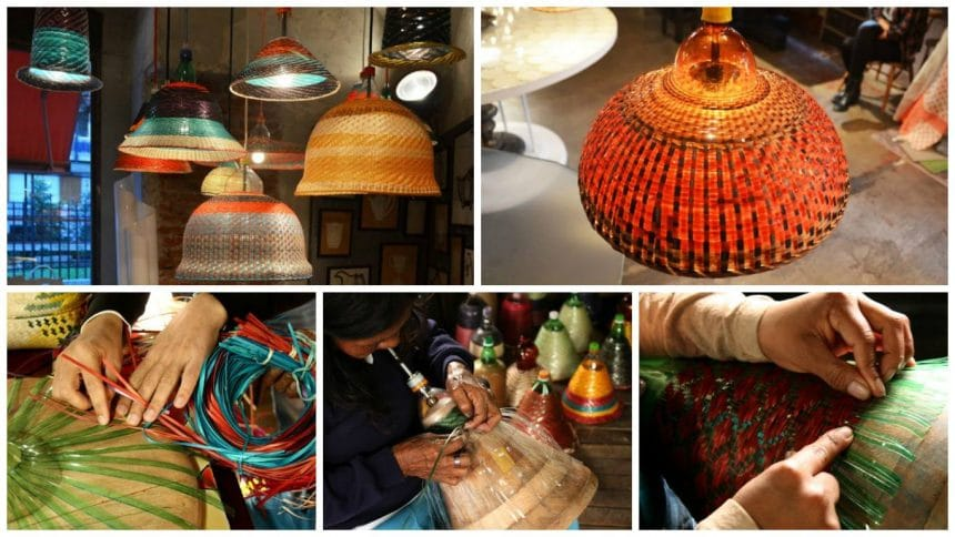 Chandeliers and lampshades made of plastic bottles