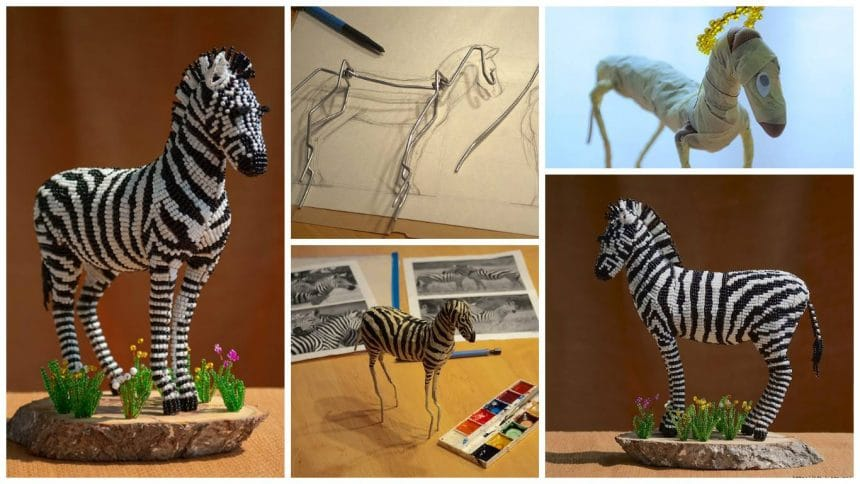 How to make zebra from bead