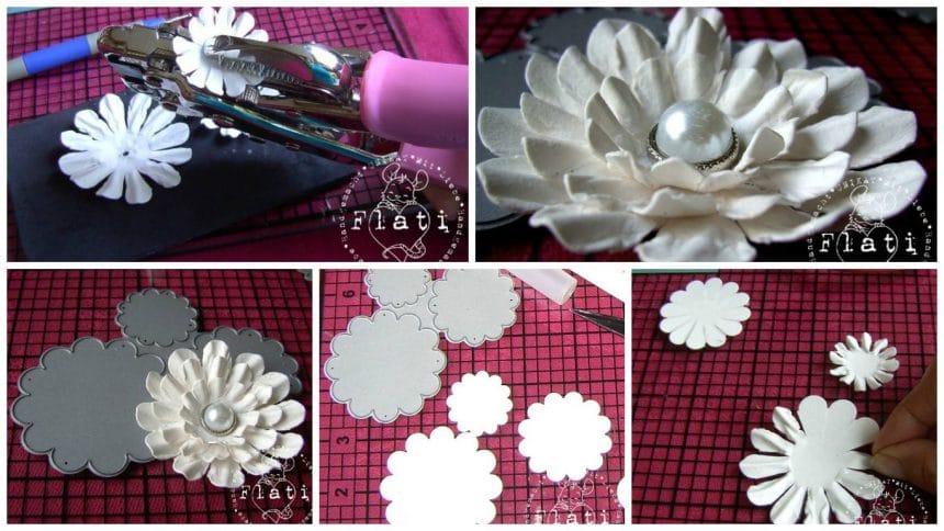 How to make elegant flower scrap of watercolor paper