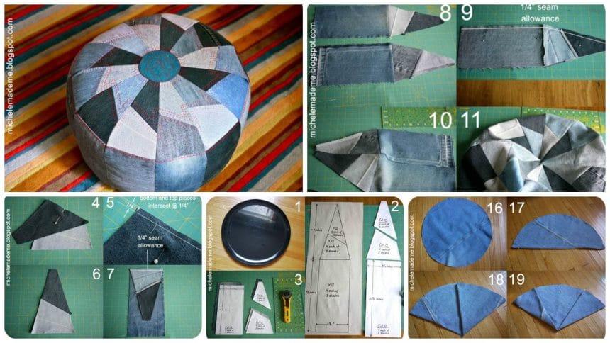 How to sew denim ottoman