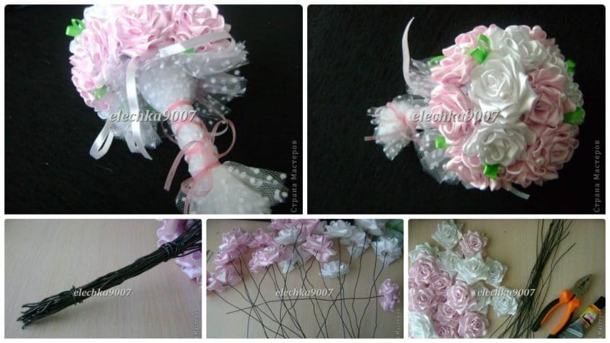 How to creating a wedding bouquet of ribbon flowers - Simple Craft Ideas