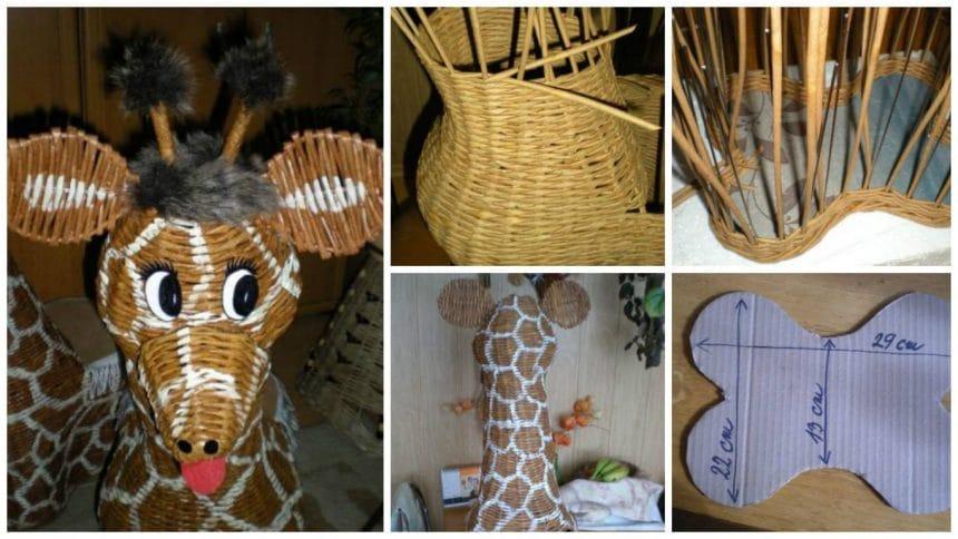 How to make fun giraffe from newspaper tubes