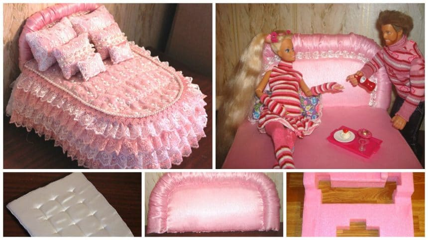 How to make a bed for Barbie dolls