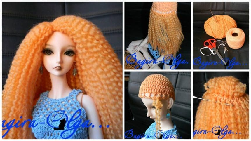 How to make wig for dolls from yarn