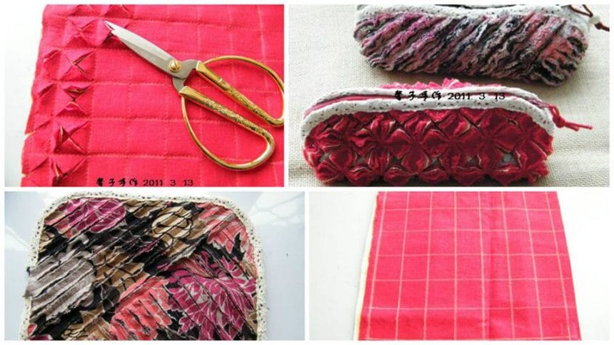 How to make bag from fabric cross linking multiple layers parallel lines