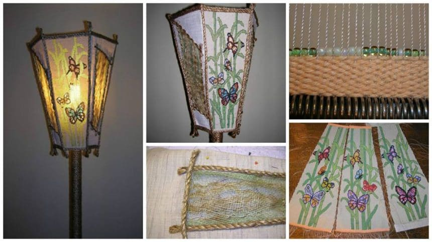 "How to make beaded lamp ""Butterflies on bamboo"""