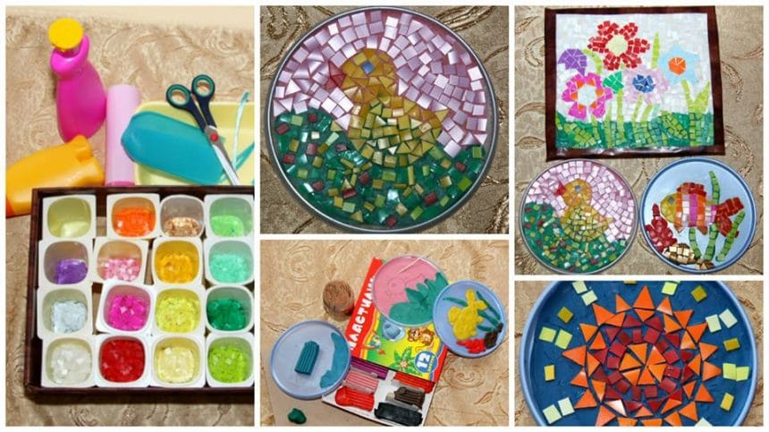 How to mosaic art from plastic bottle