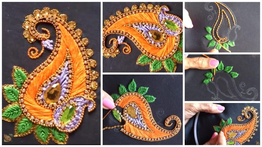 Aari style embroidery for ghagras, dresses, sarees and blouses