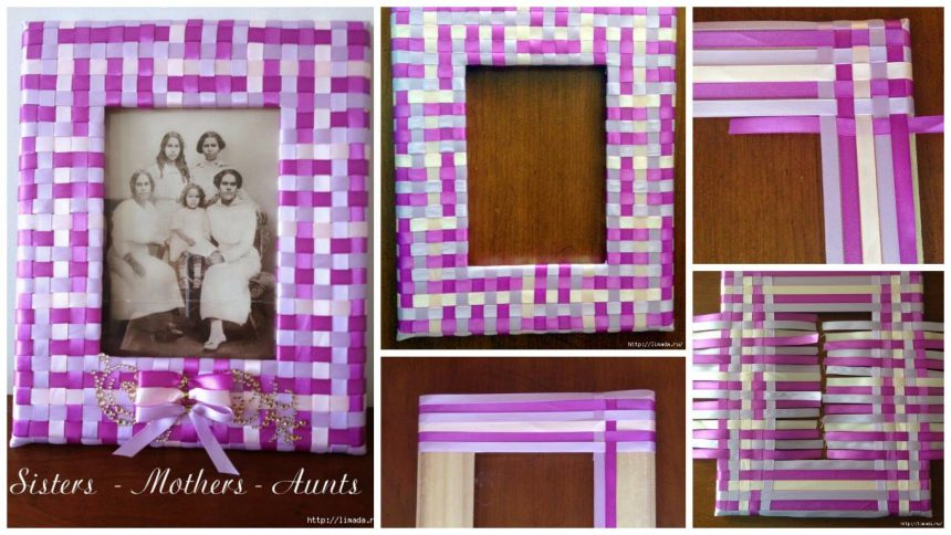 How to make beautiful frame made of satin ribbons