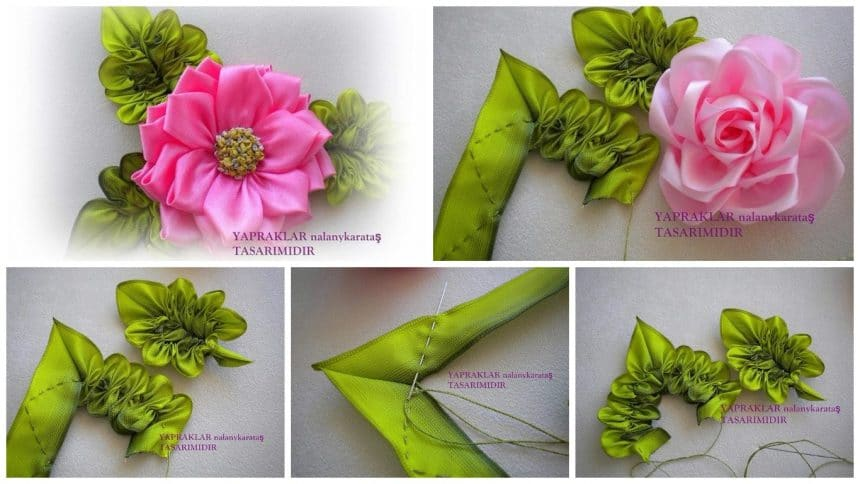 How to make flower of the ribbons with beautiful leaves
