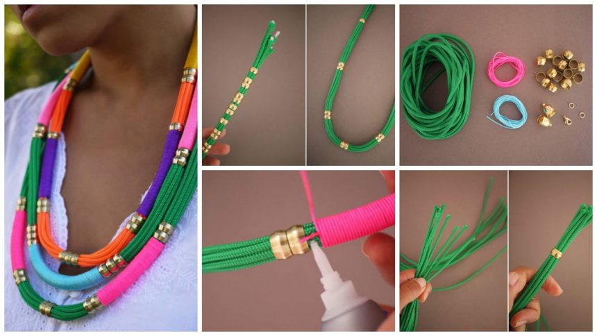 How to make bright summer necklace