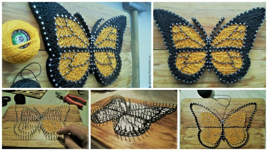 How to create a butterfly in string art style