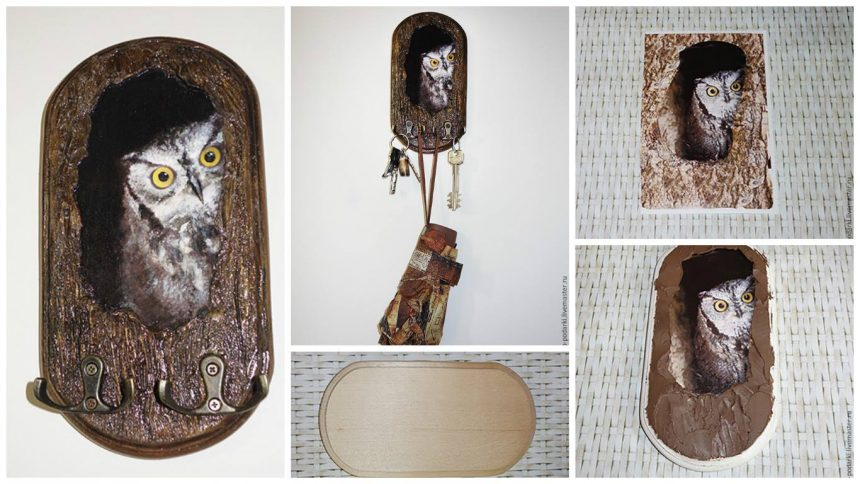 """How to make textured coat hanger """"Owl in the hollow of"""""""
