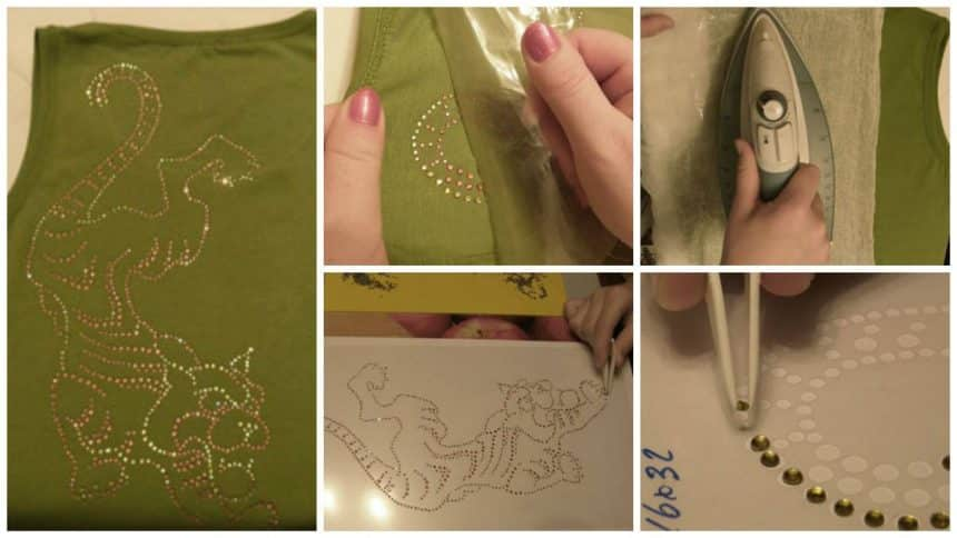 How to make tiger from rhinestones on the T-shirt.