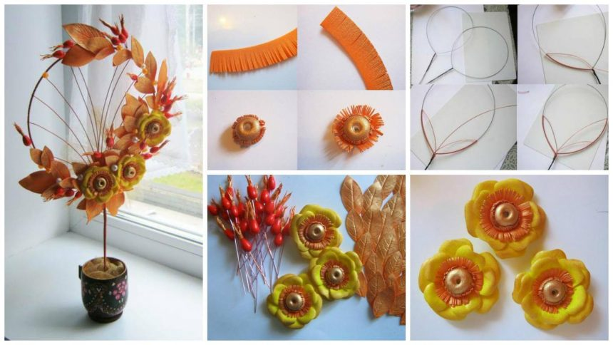 "How to make decorative tree ""Autumn Kiss"""