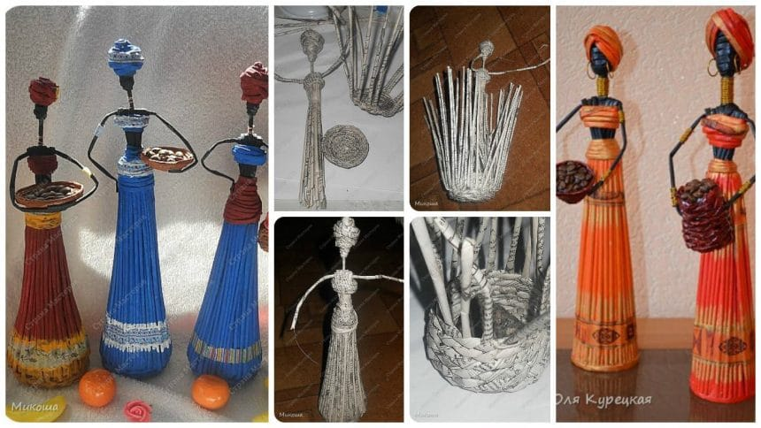 How to make Africans elegant statues from newspaper tubes