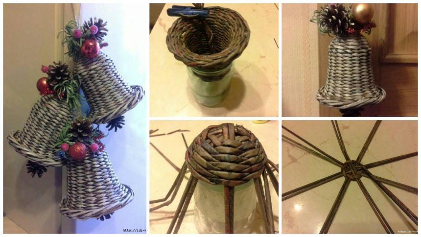 How to make bell from newspaper tubes