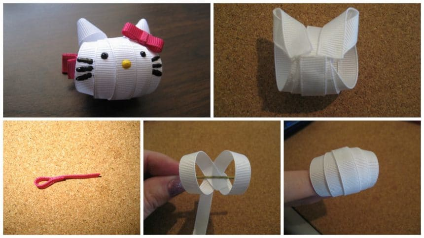 How to make kitty hairpin from ribbon