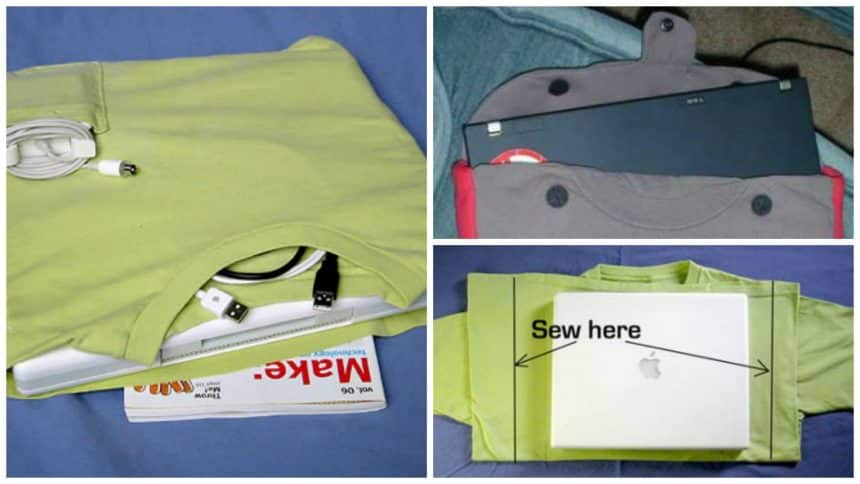 How to make a cover-bag for a laptop from old T-shirt