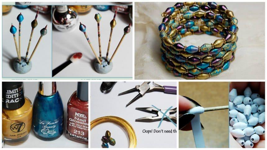 Bracelet made of paper beads